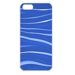 Lines Swinging Texture  Blue Background Apple Iphone 5 Seamless Case (white)