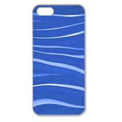 Lines Swinging Texture  Blue Background Apple Seamless Iphone 5 Case (clear)
