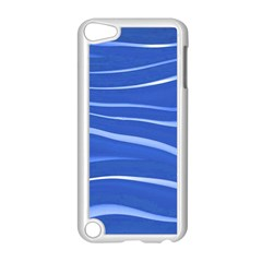 Lines Swinging Texture  Blue Background Apple Ipod Touch 5 Case (white)