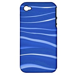 Lines Swinging Texture  Blue Background Apple iPhone 4/4S Hardshell Case (PC+Silicone)