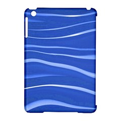 Lines Swinging Texture  Blue Background Apple Ipad Mini Hardshell Case (compatible With Smart Cover)