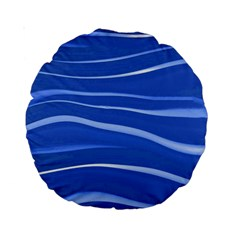 Lines Swinging Texture  Blue Background Standard 15  Premium Round Cushions