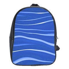 Lines Swinging Texture  Blue Background School Bags (XL)