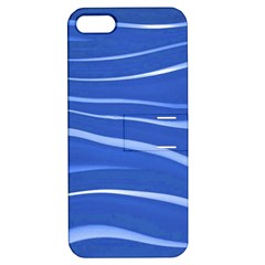 Lines Swinging Texture  Blue Background Apple Iphone 5 Hardshell Case With Stand