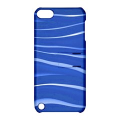 Lines Swinging Texture  Blue Background Apple Ipod Touch 5 Hardshell Case With Stand