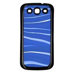 Lines Swinging Texture  Blue Background Samsung Galaxy S3 Back Case (Black)