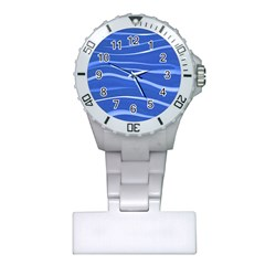 Lines Swinging Texture  Blue Background Plastic Nurses Watch
