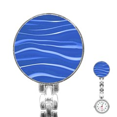 Lines Swinging Texture  Blue Background Stainless Steel Nurses Watch