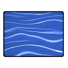 Lines Swinging Texture  Blue Background Double Sided Fleece Blanket (small)