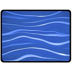 Lines Swinging Texture  Blue Background Double Sided Fleece Blanket (large)