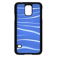 Lines Swinging Texture  Blue Background Samsung Galaxy S5 Case (Black)