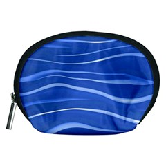 Lines Swinging Texture  Blue Background Accessory Pouches (medium)