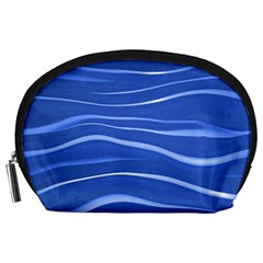 Lines Swinging Texture  Blue Background Accessory Pouches (large)