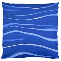 Lines Swinging Texture  Blue Background Large Flano Cushion Case (one Side)