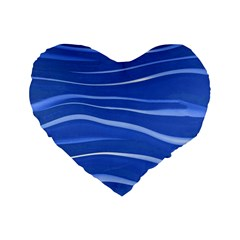 Lines Swinging Texture  Blue Background Standard 16  Premium Flano Heart Shape Cushions