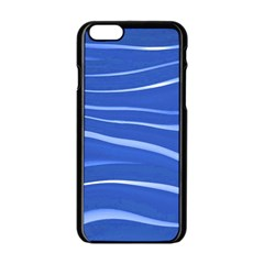 Lines Swinging Texture  Blue Background Apple Iphone 6/6s Black Enamel Case