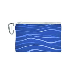 Lines Swinging Texture  Blue Background Canvas Cosmetic Bag (s)