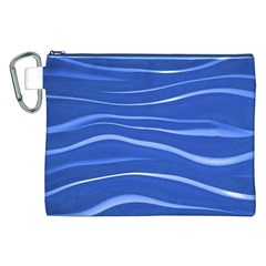 Lines Swinging Texture  Blue Background Canvas Cosmetic Bag (XXL)