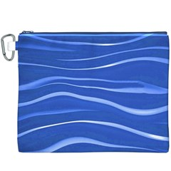 Lines Swinging Texture  Blue Background Canvas Cosmetic Bag (XXXL)