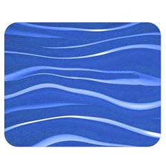 Lines Swinging Texture  Blue Background Double Sided Flano Blanket (medium)