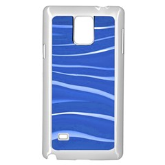 Lines Swinging Texture  Blue Background Samsung Galaxy Note 4 Case (white)