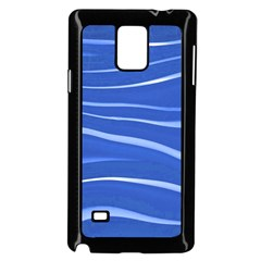 Lines Swinging Texture  Blue Background Samsung Galaxy Note 4 Case (black)