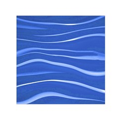 Lines Swinging Texture  Blue Background Small Satin Scarf (square)
