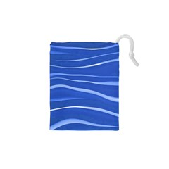 Lines Swinging Texture  Blue Background Drawstring Pouches (XS)