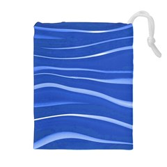 Lines Swinging Texture  Blue Background Drawstring Pouches (extra Large)