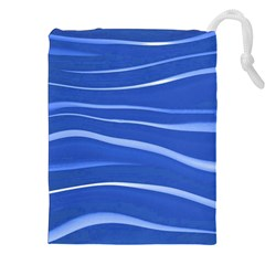 Lines Swinging Texture  Blue Background Drawstring Pouches (XXL)