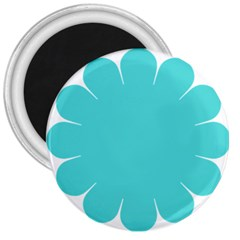 Turquoise Flower Blue 3  Magnets