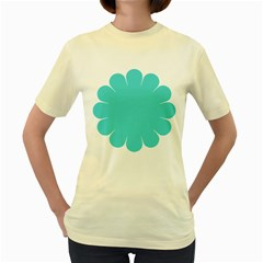 Turquoise Flower Blue Women s Yellow T Shirt