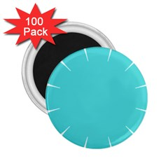 Turquoise Flower Blue 2 25  Magnets (100 Pack)