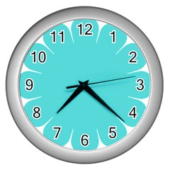 Turquoise Flower Blue Wall Clocks (silver)