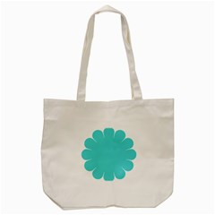 Turquoise Flower Blue Tote Bag (cream)