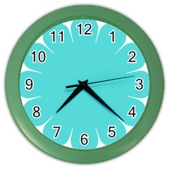 Turquoise Flower Blue Color Wall Clocks