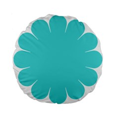 Turquoise Flower Blue Standard 15  Premium Flano Round Cushions
