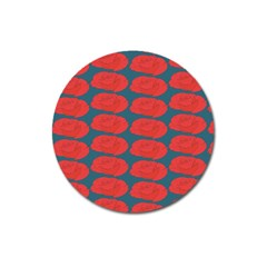 Rose Repeat Red Blue Beauty Sweet Magnet 3  (round)