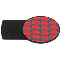 Rose Repeat Red Blue Beauty Sweet Usb Flash Drive Oval (2 Gb)