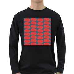 Rose Repeat Red Blue Beauty Sweet Long Sleeve Dark T-Shirts