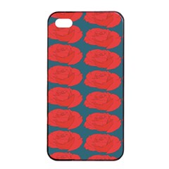 Rose Repeat Red Blue Beauty Sweet Apple iPhone 4/4s Seamless Case (Black)