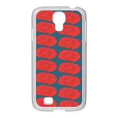 Rose Repeat Red Blue Beauty Sweet Samsung GALAXY S4 I9500/ I9505 Case (White)