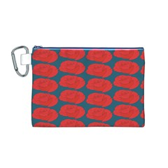 Rose Repeat Red Blue Beauty Sweet Canvas Cosmetic Bag (M)