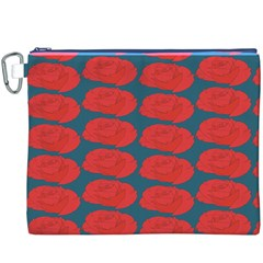 Rose Repeat Red Blue Beauty Sweet Canvas Cosmetic Bag (XXXL)