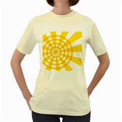 Weaving Hole Yellow Circle Women s Yellow T Shirt