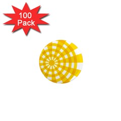 Weaving Hole Yellow Circle 1  Mini Magnets (100 pack)