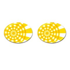 Weaving Hole Yellow Circle Cufflinks (oval)