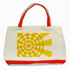 Weaving Hole Yellow Circle Classic Tote Bag (red)