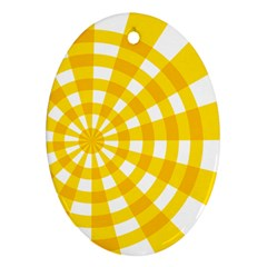 Weaving Hole Yellow Circle Oval Ornament (Two Sides)