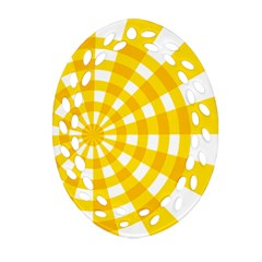 Weaving Hole Yellow Circle Oval Filigree Ornament (Two Sides)